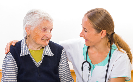nursing care insurance: Photo of elderly woman with the young doctor