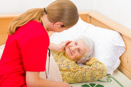 elderly woman: Photo of elderly woman with the caregiver