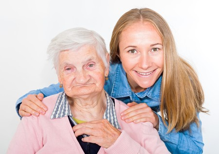 grandchild: Photo of elderly woman with her grandchild