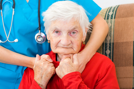 old hand: Photo of elderly woman and the doctor Stock Photo