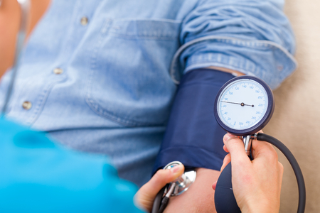hypertension: Close up photo of blood pressure measurement