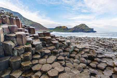 Basalt columns of Giants Causeway in Ireland 스톡 콘텐츠