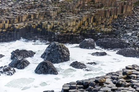 causeway: Basalt columns of Giants Causeway in Ireland Stock Photo