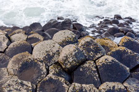 basalt: Basalt columns of Giants Causeway in Ireland Stock Photo