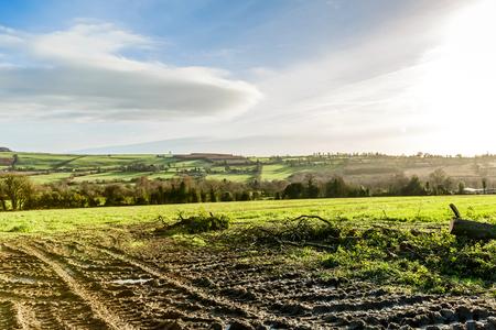 irish landscape: Beautiful irish landscape and wheel track on mud
