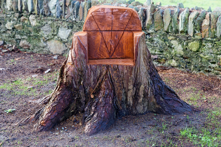 bark carving: Photo of a sculpted chair from a tree trunk