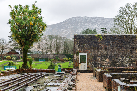 nuns: Detail photo of Victorian walled garden of Kylemore Abbey