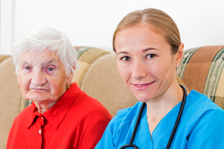 aide: Photo of elderly woman and the young doctor