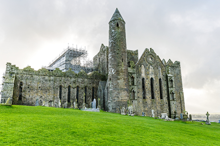 reconstructing: Landscape photo of Rock of Cashel irish heritage Stock Photo