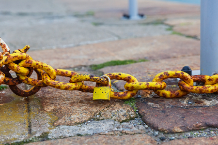 rusty chain: Close up photo of rusty chain and padlock
