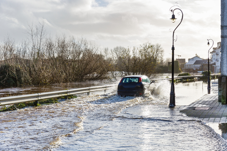 FLOODING: Photo of a flooding river in an irish town