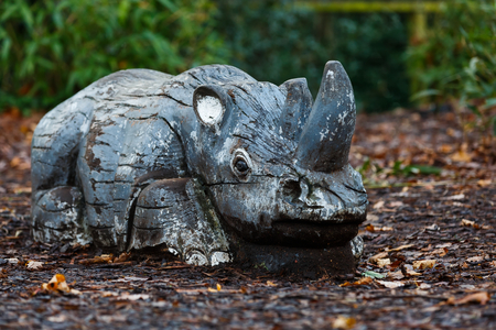 Close up photo of decorative wooden rhino Stock Photo