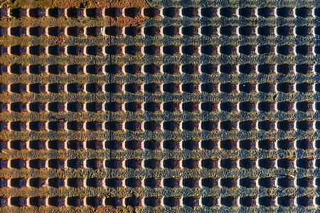 iron barred: Close up photo of metal grid texture