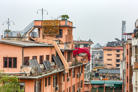 solar panel roof: Cityscape of Kathmandu city from the rooftop Stock Photo