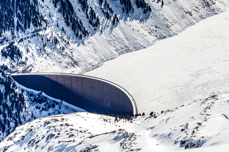 ice dam: Photo of dam between mountains in the Alps