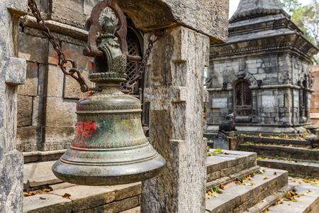 god's cow: Ancient bell at Pashupatinath hindu temple in Kathmandu