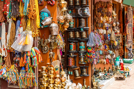 Close up photo of a souvenir shop in Kathmandu