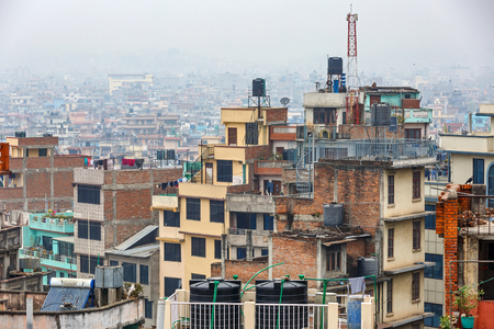 pauperism: Cityscape of Kathmandu city from the rooftop Stock Photo