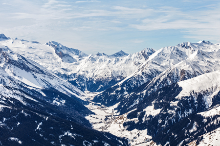 Landscape photo of snowy mountains in Alps Stock Photo