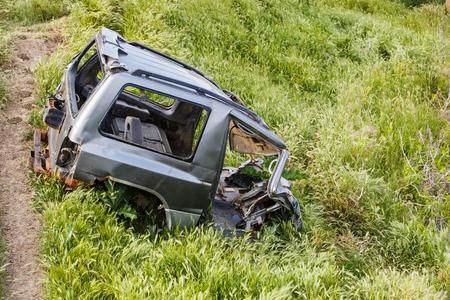 abandoned car: Photo of abandoned broken off road car frame