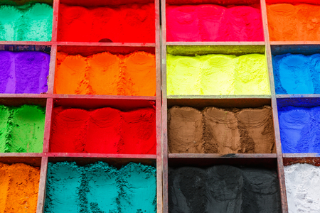 Close up photo of variety nepalese natural paint powders