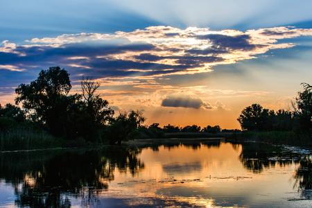 danube delta: Landscape photo of a beautiful sunset in Danube Delta