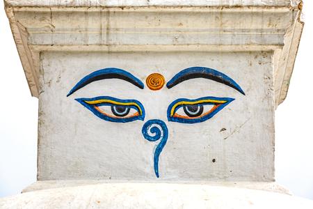 3rd ancient: The eyes of Buddha symbol of buddhism Stock Photo