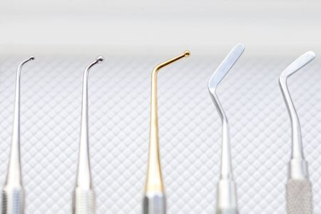 stomatological: Close up photo of dental cavity filling instruments