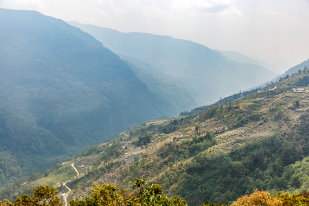 steep: Cultivated fields on steep mountainside in Nepal Stock Photo