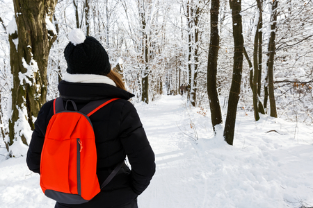 winterly: Photo of young woman walking in the forest  in wintertime