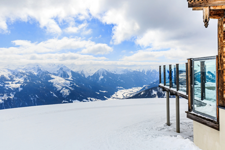 winterly: Landscape photo of snowy mountains in Alps Stock Photo