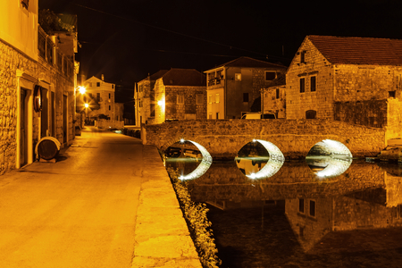 quite: Landscape photo of mediterranean town at night Stock Photo
