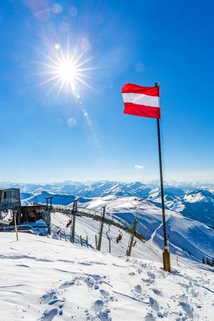 Snowy winter landscape of a ski resort in the Alps