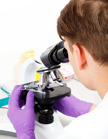 Photo of young scientist working in laboratory Stock Photo