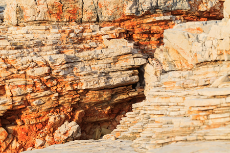 stratification: Close up photo of limestone texture, rocky coastline