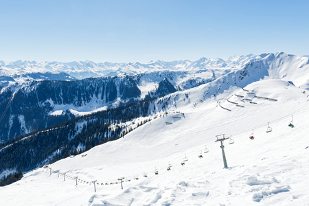 ski area: Landscape photo of snowy mountains in Alps Stock Photo