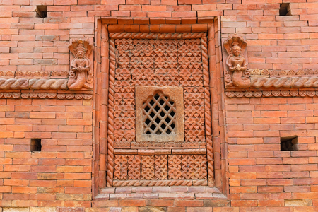 Photo of old red brick building with windows Stock Photo
