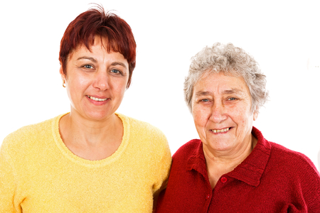 Portrait photo elderly woman and young caregiver Stock Photo