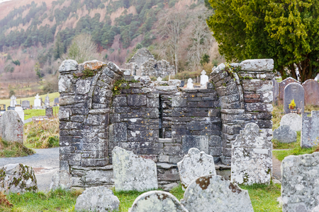 Ancient graveyard at the historic Glendalough Monastery in Ireland