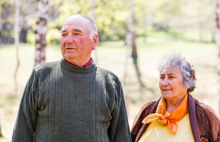 Portrait photo of beautiful happy elderly couple