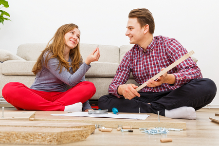 Home improvement, do it yourself activity in new home Stock Photo