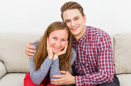 Portrait photo of happy beautiful young couple