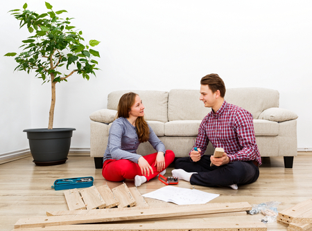 Home improvement, do it yourself activity in new home Standard-Bild