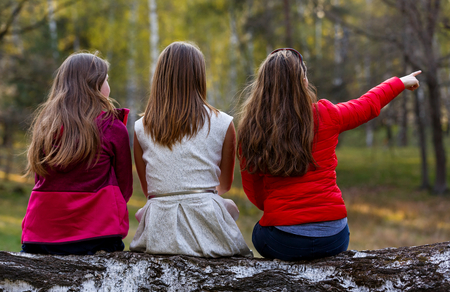 Young ladies sitting on tree trunk in the forest Standard-Bild