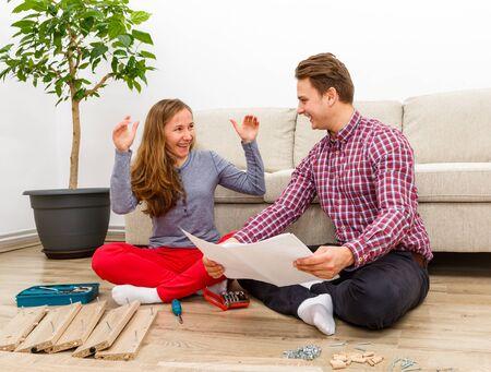 Home improvement, do it yourself activity in new home Standard-Bild