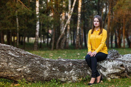Beautiful young lady sitting on tree trunk in the forest Standard-Bild