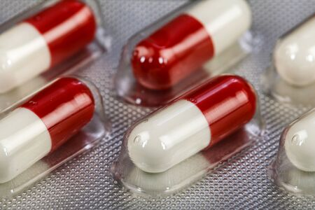 Close up photo of a blister antibiotic pills