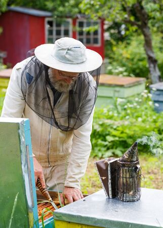 Handsome beekeeper in protective uniform checking the beehive in the garden