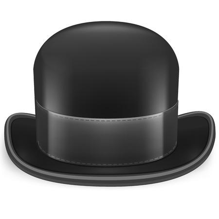 bouliste: Noir chapeau melon sur un fond blanc