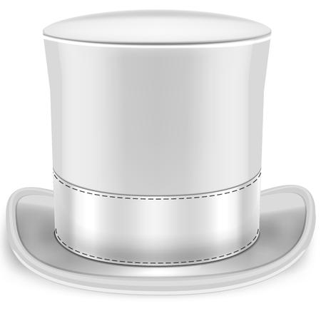 chapeau blanc: Image r�aliste d'un haut de forme blanc chapeau blanc